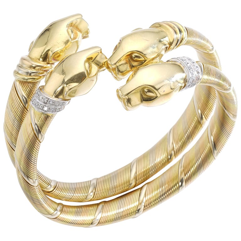 Cartier Panther Pair of Bracelets For Sale