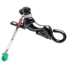 Cartier Panther Panthere Black Onyx Diamond Emerald Drop Brooch Pin
