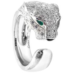 Cartier Panther Panthere Diamond Emerald Onyx White Gold Band Ring