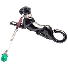 Cartier Panther Panthere Diamond Emerald Onyx White Gold Pin Brooch