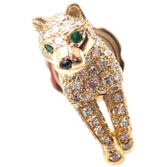Cartier Panther Panthere Diamond Emerald Yellow Gold Tie Lapel Pin