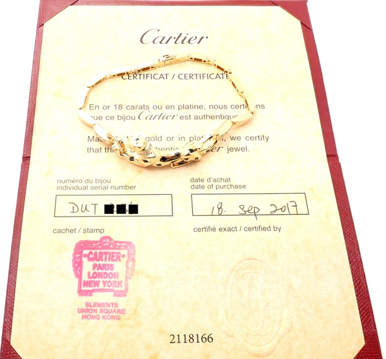 Brilliant Cut Cartier Panther Panthere Diamond Tsavorite Lacquer Yellow Gold Link Bracelet For Sale