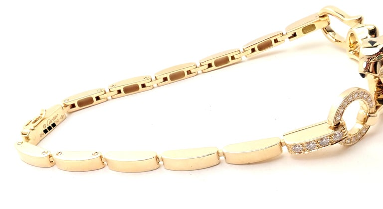 Cartier Panther Panthere Diamond Tsavorite Lacquer Yellow Gold Link Bracelet In Excellent Condition For Sale In Holland, PA