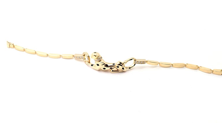 Cartier Panther Panthere Diamond Tsavorite Lacquer Yellow Gold Link Bracelet For Sale 2