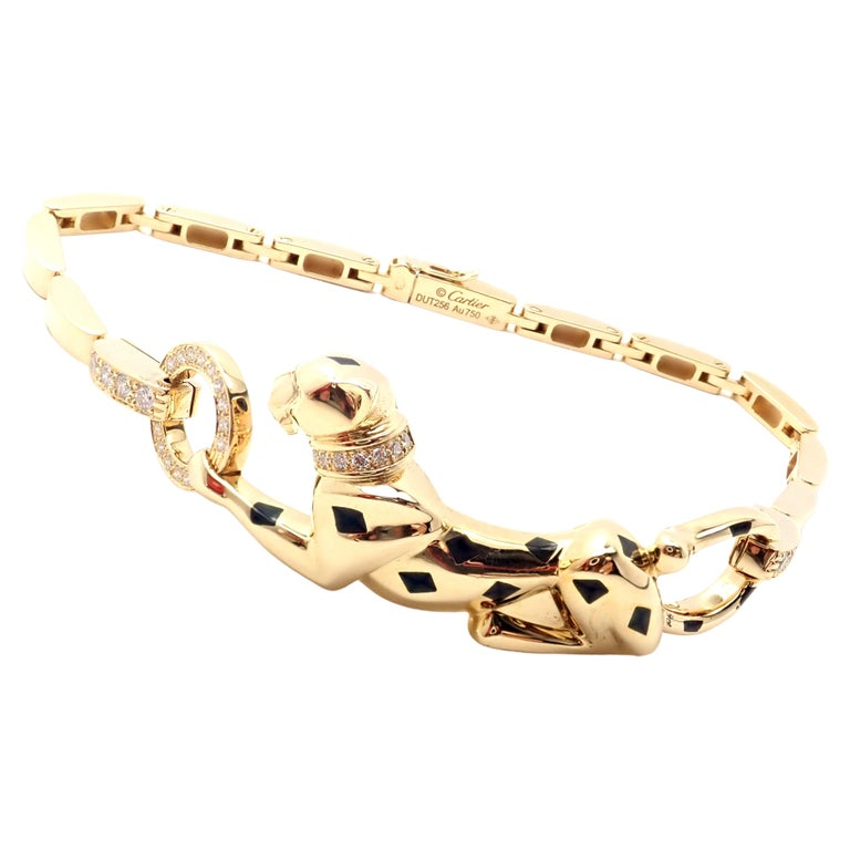 Cartier Panther Panthere Diamond Tsavorite Lacquer Yellow Gold Link Bracelet For Sale