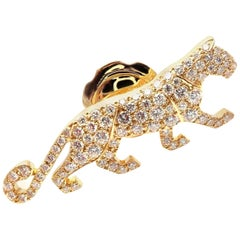 Cartier Panther Panthere Diamond Yellow Gold Tie Lapel Pin Brooch