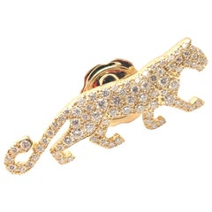 Cartier Panther Panthere Diamond Yellow Gold Tie Lapel Pin