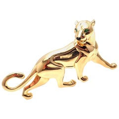 Cartier Panther Panthère Emerald Onyx Large Yellow Gold Pin Brooch