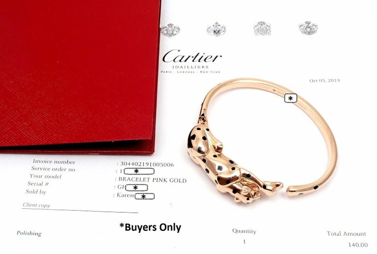 Cartier Panther Panthere Onyx Tsavorite Black Lacquer Rose Gold Bangle Bracelet For Sale 1