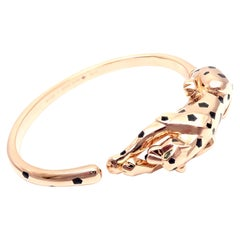 Cartier Panther Panthere Onyx Tsavorite Black Lacquer Rose Gold Bangle Bracelet