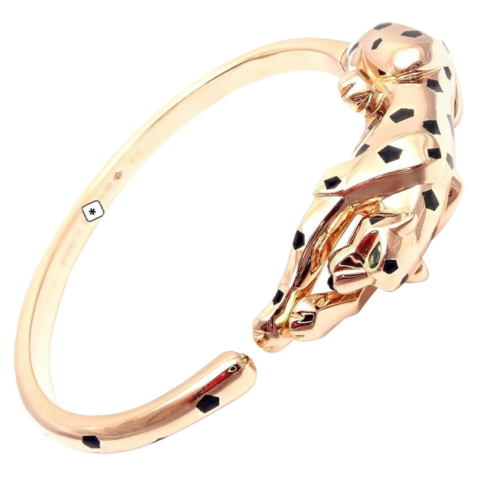 Cartier Panther Panthere Onyx Tsavorite Black Lacquer Rose Gold Bangle Bracelet