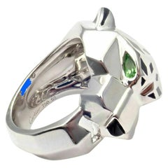 Cartier Panther Panthere Peridot Onyx Lacquer White Gold Band Ring