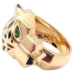 Cartier Panther Panthere Peridot Onyx Lacquer Yellow Gold Band Ring