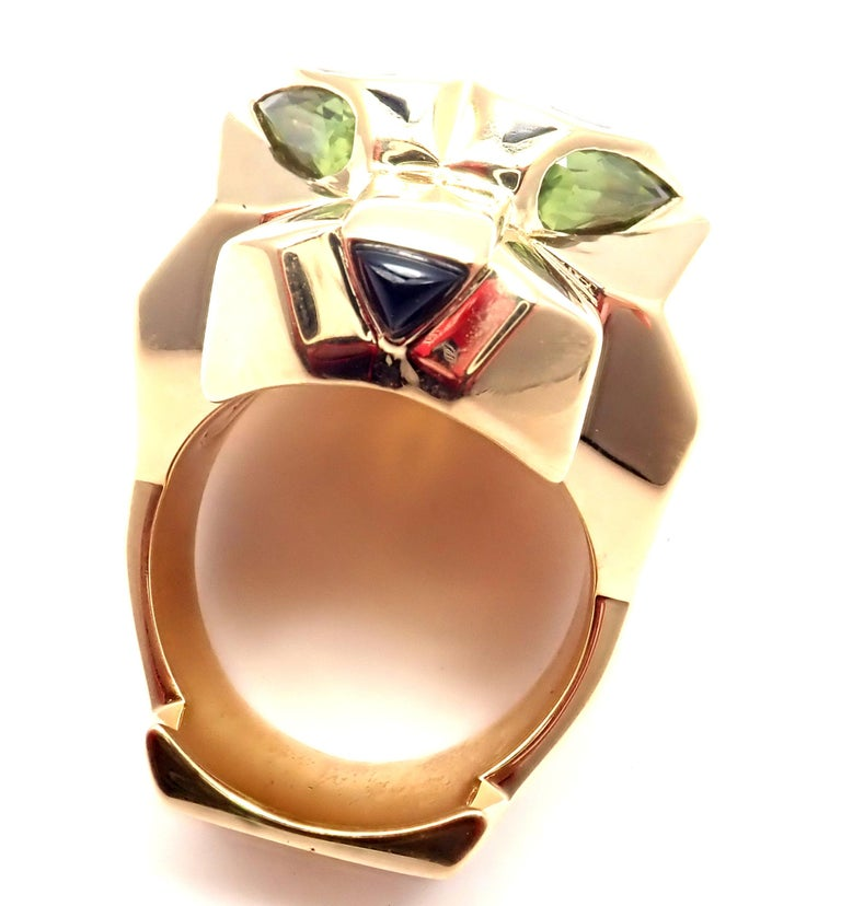 Cartier Panther Panthere Peridot Onyx Lacquer Yellow Gold Large Ring For Sale 6