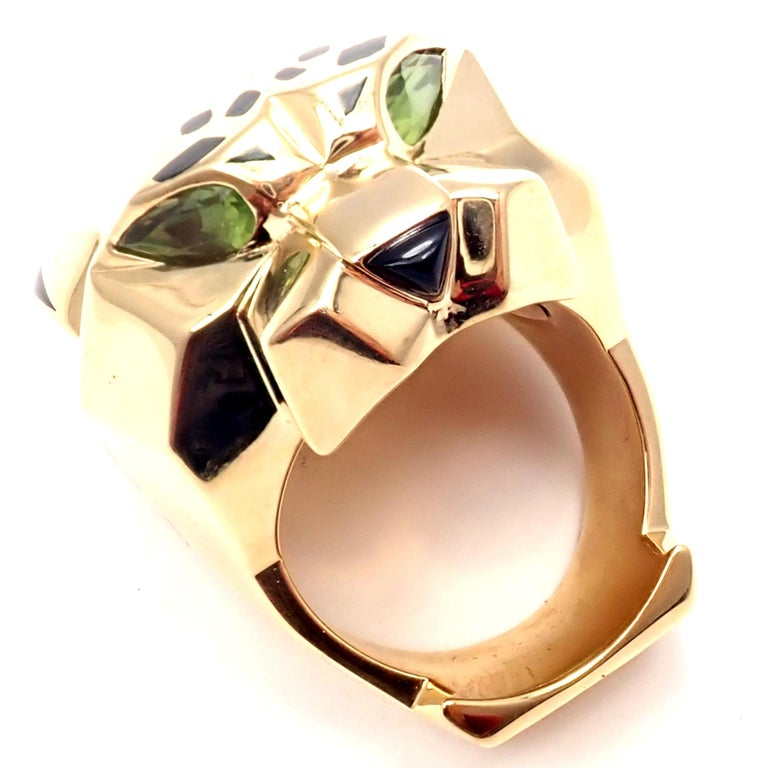 Cartier Panther Panthere Peridot Onyx Lacquer Yellow Gold Large Ring For Sale 8