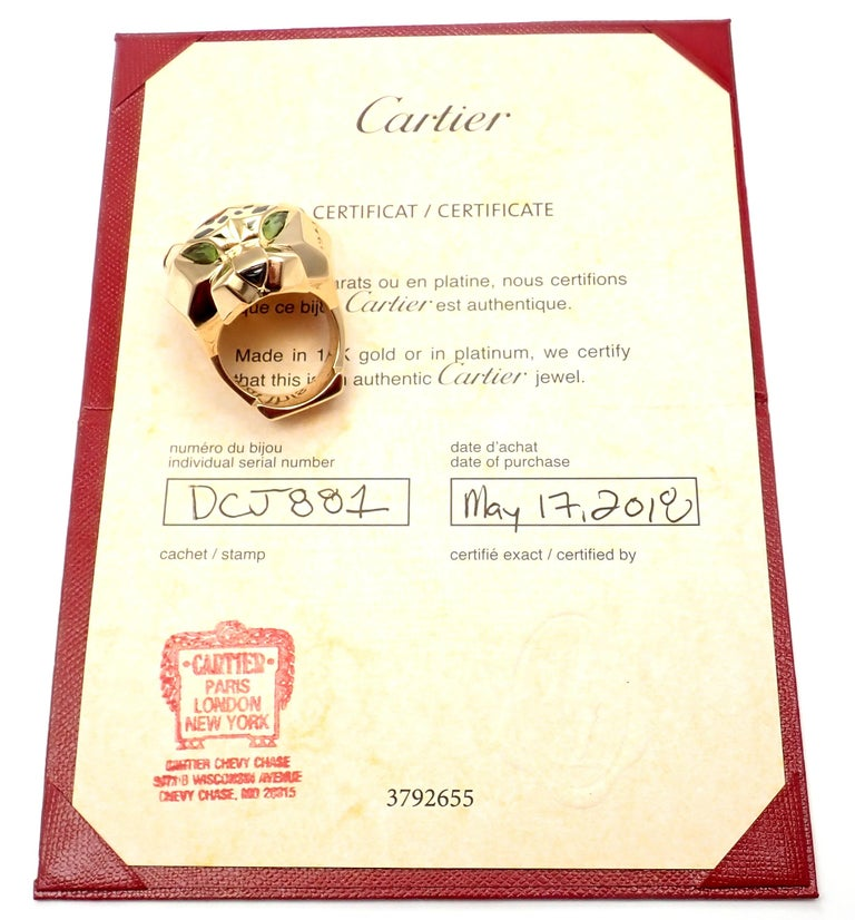 Cartier Panther Panthere Peridot Onyx Lacquer Yellow Gold Large Ring In Excellent Condition For Sale In Holland, PA