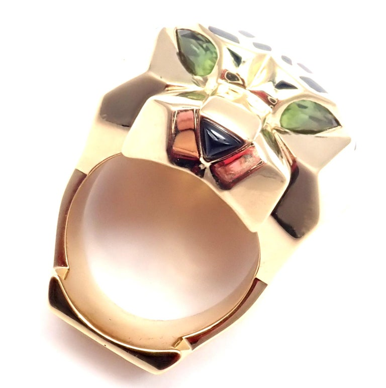 Cartier Panther Panthere Peridot Onyx Lacquer Yellow Gold Large Ring For Sale 2
