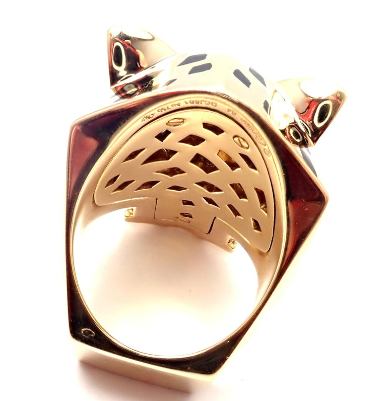 Cartier Panther Panthere Peridot Onyx Lacquer Yellow Gold Large Ring For Sale 3