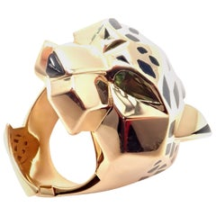 Cartier Panther Panthere Peridot Onyx Lacquer Yellow Gold Large Ring