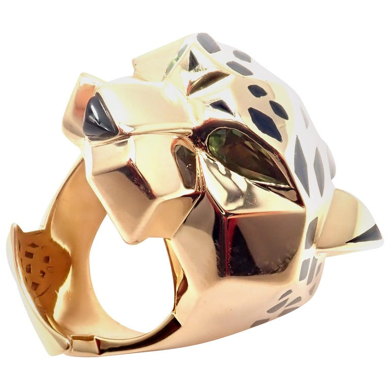 Cartier Panther Panthere Peridot Onyx Lacquer Yellow Gold Large Ring For Sale