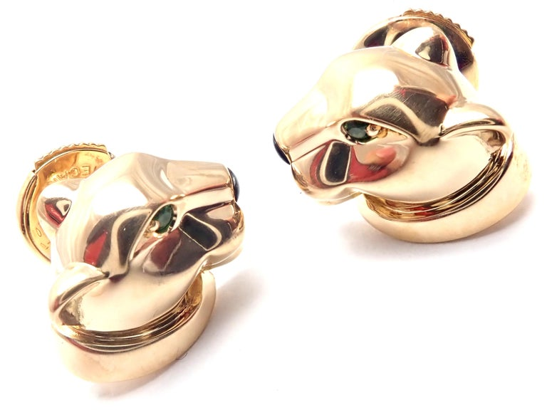 Cartier Panther Panthere Tsavorite Onyx Yellow Gold Stud Earrings In Excellent Condition For Sale In Holland, PA