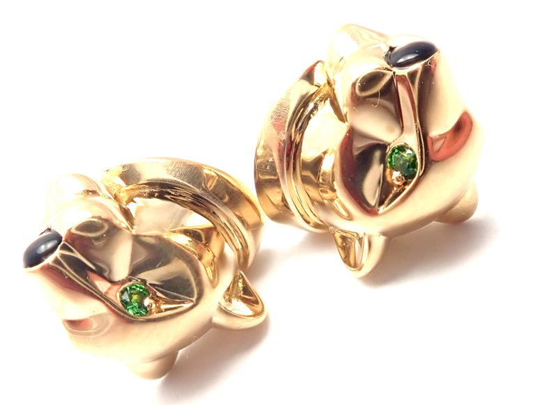 Cartier Panther Panthere Tsavorite Onyx Yellow Gold Stud Earrings For Sale 4