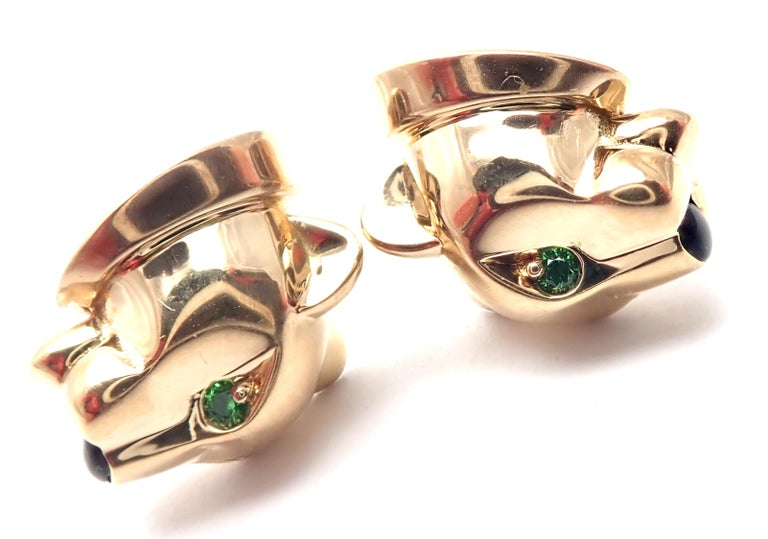 Cartier Panther Panthere Tsavorite Onyx Yellow Gold Stud Earrings For Sale 5