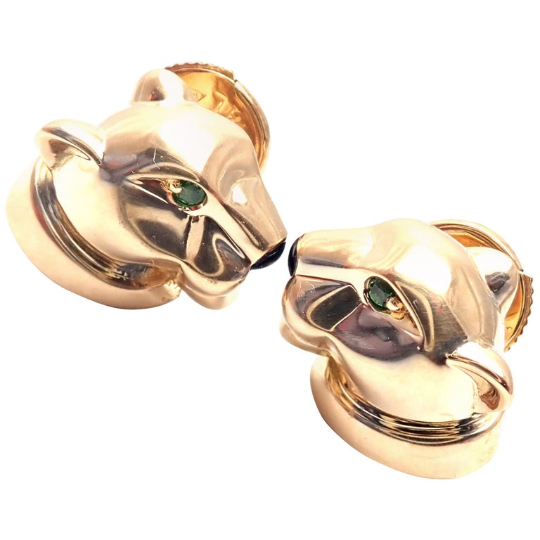 Cartier Panther Panthere Tsavorite Onyx Yellow Gold Stud Earrings For Sale