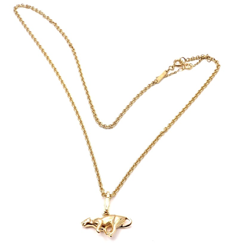 Cartier Panther Pendant Link Yellow Gold Chain Necklace For Sale 3