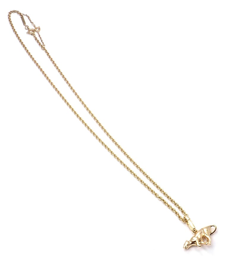 Cartier Panther Pendant Link Yellow Gold Chain Necklace For Sale 4