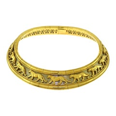 Cartier Panther Pharaon Walking Panther Yellow and White Gold Choker Necklace
