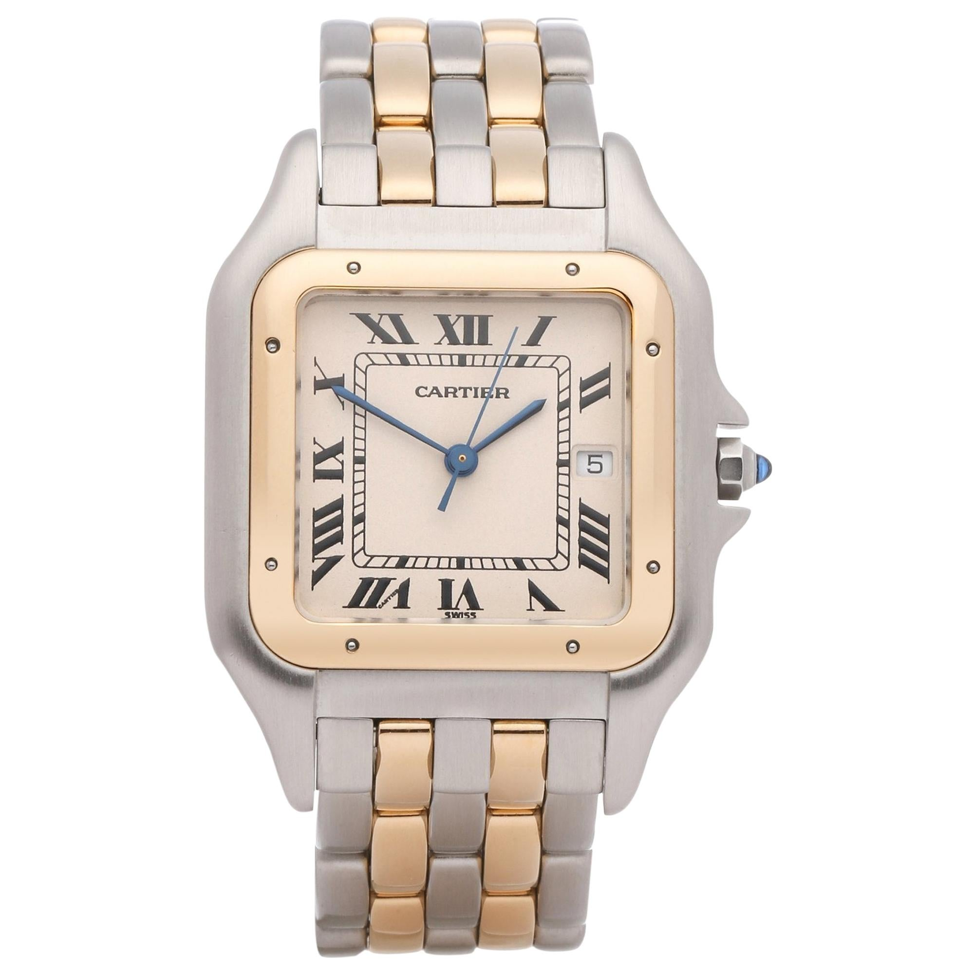 Cartier Panthère 1100 Ladies Stainless Steel and Yellow Gold Jumbo 2-Row Watch