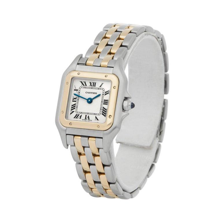 Xupes Reference: W007157 Manufacturer: Cartier Model: Panthère Model Variant:  Model Number: 1120 Age: Circa 1990's Gender: Ladies Complete With: Xupes Presentation Box Dial: White Roman Glass: Sapphire Crystal Case Size: 21.5mm By 29mm Case