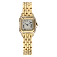 Cartier Panthere 1280 2 Yellow Gold Diamond Case Ladies Watch