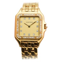 Cartier Panthere 18 Karat Gold and Diamonds Men's Sized Wristwatch, circa 1990s