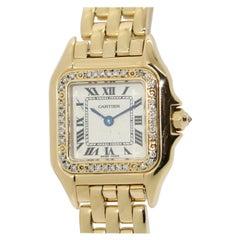 Cartier Panthère 18 Karat Gold Ladies Wrist Watch with Diamonds