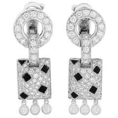 Cartier Panthère 18 Karat White Gold 1.96 Carat Diamond and Onyx Earrings