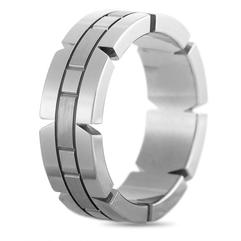 """The Cartier """"Panthère"""" ring is made of 18K white gold and weighs 9.2 grams, boasting band thickness of 6 mm.    This item is offered in estate condition and includes a gift box."""