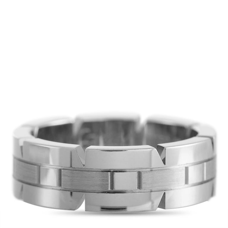Women's or Men's Cartier Panthère 18 Karat White Gold Band Ring For Sale