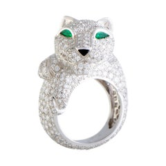 Cartier Panthere 18 Karat White Gold Full Diamond Pave Onyx and Emerald Ring