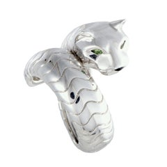 Cartier Panthere 18 Karat White Gold Tsavorite and Onyx Band Ring