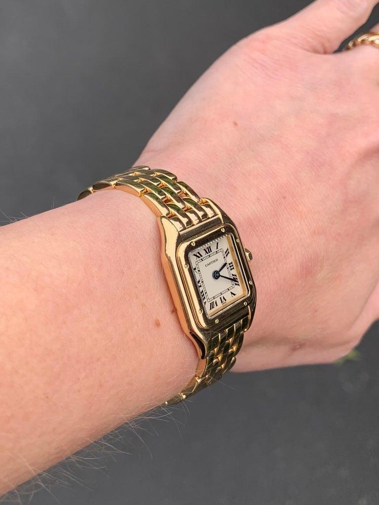 Cartier Panthére 18 Karat Yellow Gold Quartz Watch For Sale 2