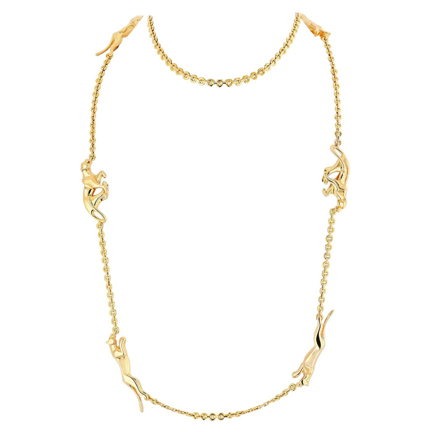 Cartier Panthere 18 Karat Yellow Gold 6 Motif Chain Necklace