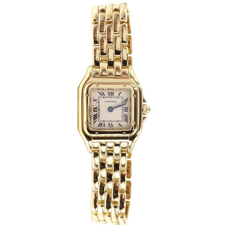 Cartier Panthére 18 Karat Yellow Gold Quartz Watch For Sale