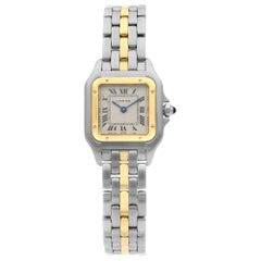 Cartier Panthere 18 Karat Yellow Gold Steel Silver Dial Quartz Ladies Watch 1120
