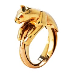 Cartier Panthere 18K Gold 3 Row Trinity French Ring