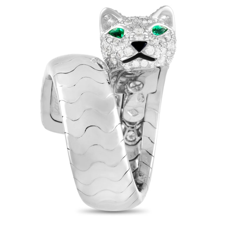 Round Cut Cartier Panthere 18K White Gold Diamond Ring For Sale