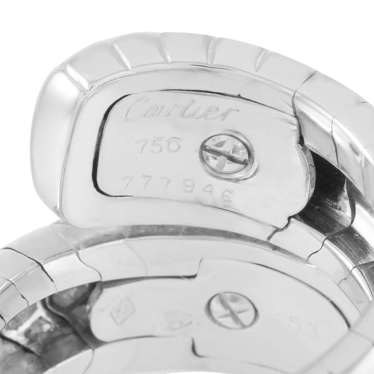 Women's Cartier Panthere 18K White Gold Diamond Ring For Sale