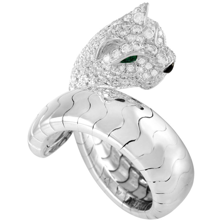 Cartier Panthere 18K White Gold Diamond Ring For Sale