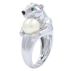 Cartier Panthere 18 Karat White Gold Pearl Ring